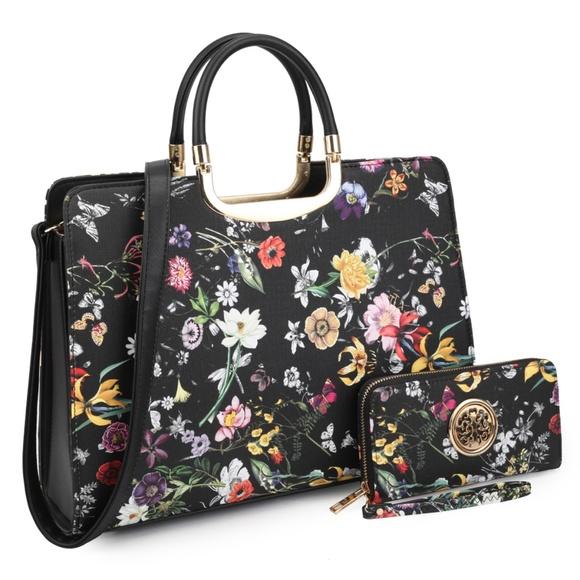 NeatandNiceShop Handbags - NEW - Black Floral Boho Bag w/ Wallet Purse Set